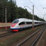 "Siemens Velaro RUS ""Sapsan"" №155 (St. Petersburg-Moscow) passing by Malino station"