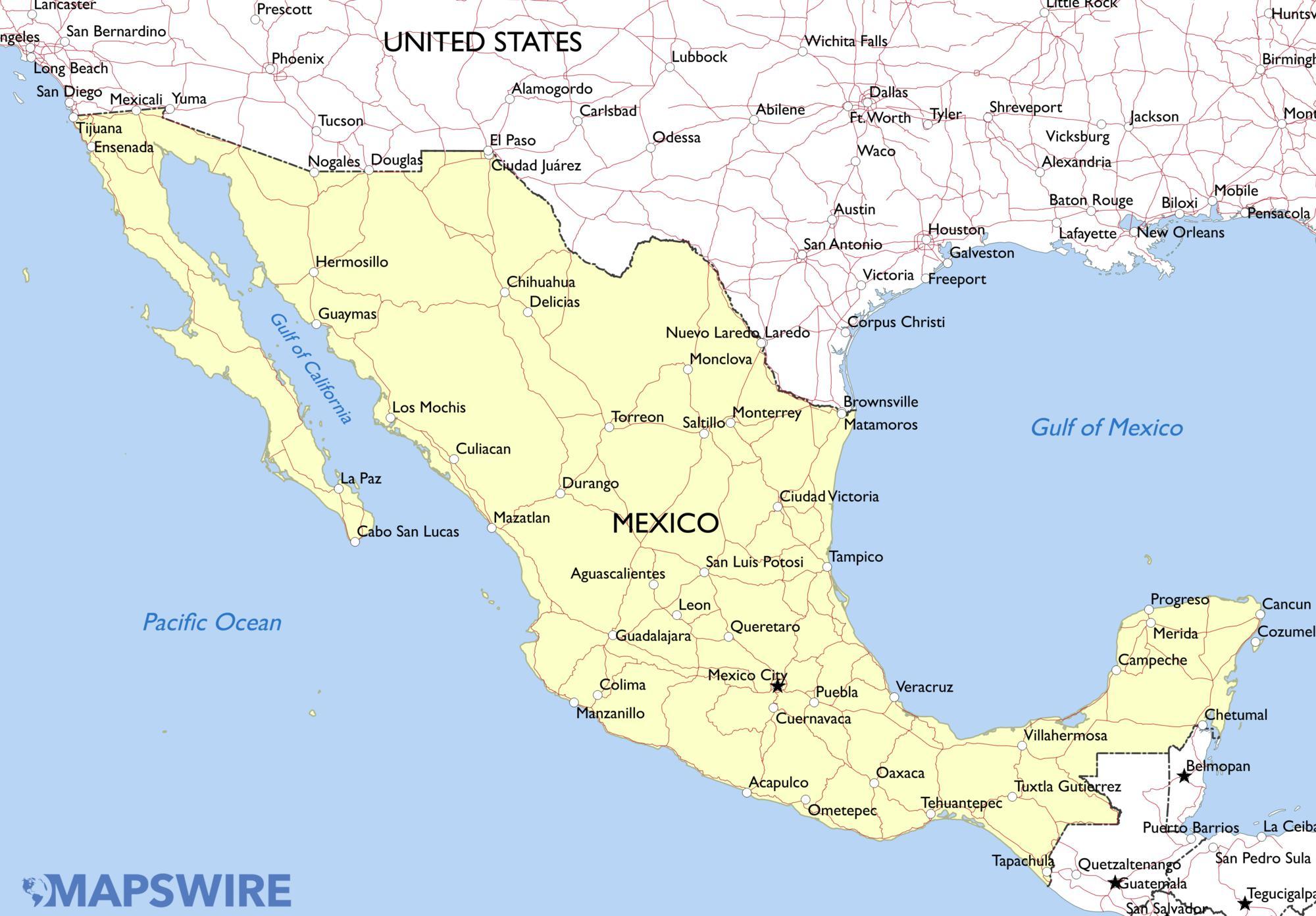 Clean image regarding printable maps of mexico